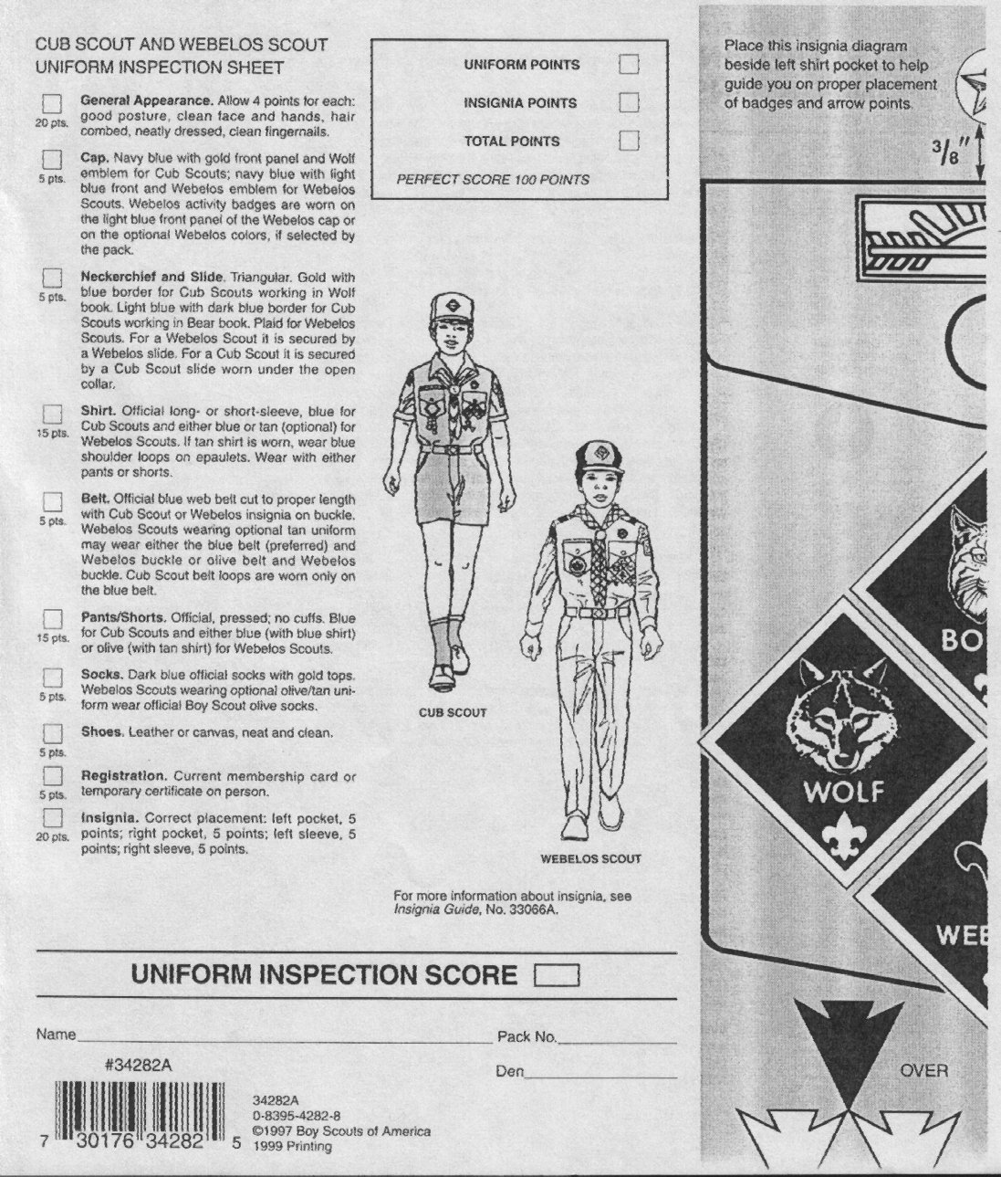 Uniform inspection sheet for Cub Scout and Webelos - USA